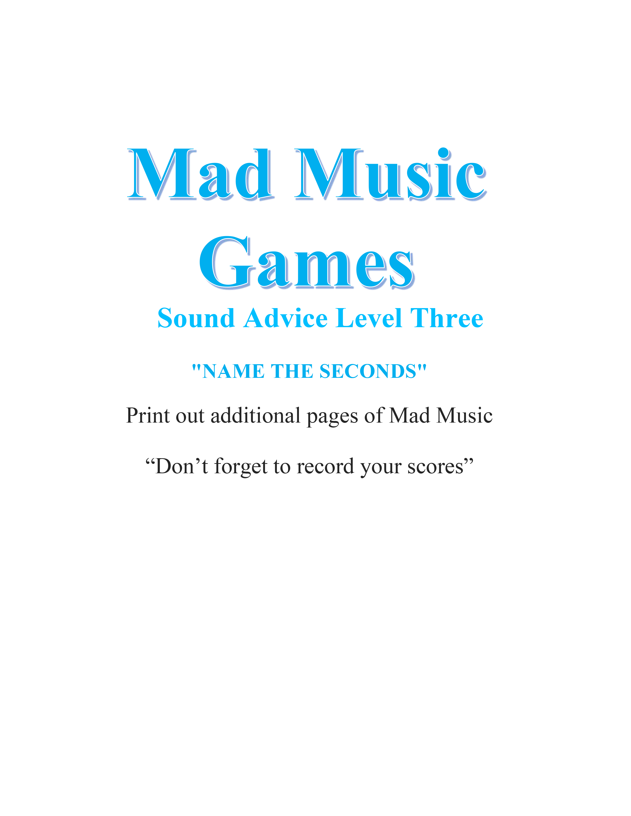 Mad Music Games - Name The Seconds
