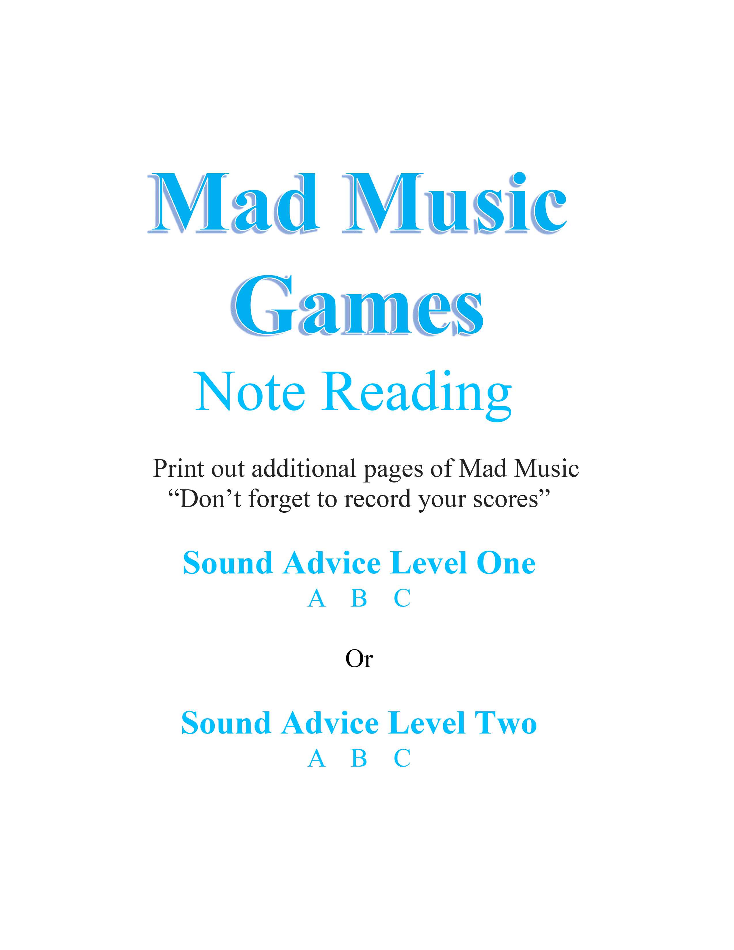 Mad Music Games - Note Reading